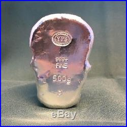 1/2 Kilo YPS 3D 999 Fine Solid Silver SKULL Yeager's Poured Silver Hand poured