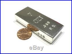 #1. 7 OZT 100% Solid. 999 Pure Fine Silver Handmade Ingot Poured Bullion Bar