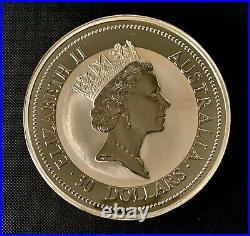 1 KILO 999 FINE SOLID SILVER 1995 Australian Kookaburra Bullion Bar Coin