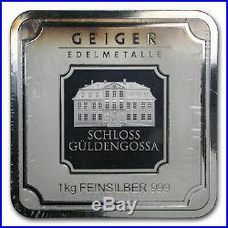 1 Kilo Silver Bar Geiger (Original Square Series, Toned) SKU#167886