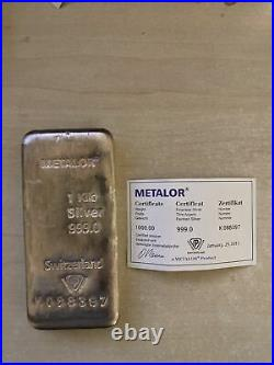 1 Kilo Solid Silver Bullion Bar Metalor Switzerland 999.0 Fineness