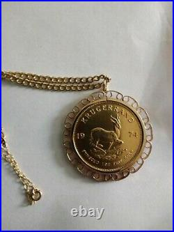 1 Oz Solid Gold South African Krugerrand dated 1974 with 18cm gold chain