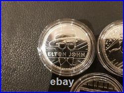 1 Oz Solid Silver Rock Legends Coins. 999% Queen/elton/bowie