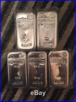 1 X 1 Kilo Umicore Solid Silver Bar Bullion 1000grams