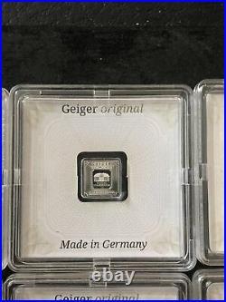 1 gram X 14 Geiger Edelmetalle Square Silver Bar (in assay)