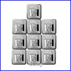 1 oz Silver Bar APMEX (Square Series) Lot of 10 Bars