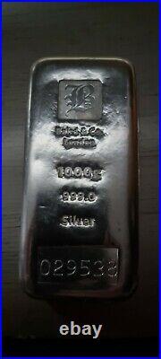 1kg 1000g 1 Kilo. 999 Solid Pure Silver Bullion Bar Baird mint London VAT FREE