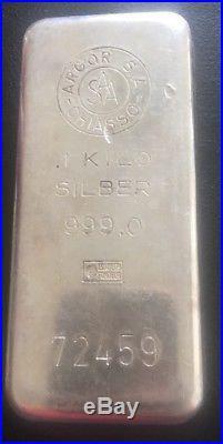 1kg Argor Chiasso Silver Bullion Bar Pre Owned 999 Solid Silver