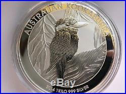 1kg Solid 999/1000 Pure 2014 Royal Australian Mint Silver Kookaburra Coin