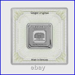 1oz 999 Fine Silver Bullion Silver Bar Geiger Original Square Pod Sealed in Case