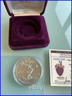1oz Solid Silver Coin RARE Limitied Edition RARE WILLE E. COYOTE LOONEY TUNES