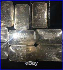 1oz X 10 Engelhard Silver Bullion Bars 999 Solid Silver
