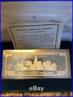 2000 Franklin $100 Solid Silver PROOF Bar Washington Mint 4 Troy Oz. 999