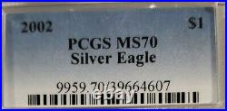 2002 Silver Eagle Pcgs Mint State Ms70 Classic Pcgs Blue Label Solid Coin