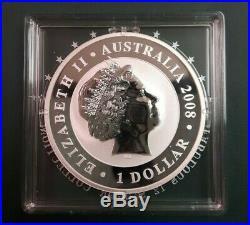 2008 Australia Koala 1 oz 999 Silver coin in f12 square capsule Lowest Mintage
