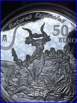 2010 Pintores Españoles Goya 50 Euro Plata Proof Solid Silver Coin 5oz Spanish
