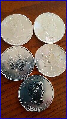 2014 Canadian Maple Leaf Coin 1oz Solid 999 silver 5 dollar bullion coin