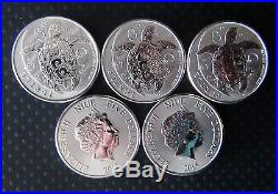 2015, 5 x 2oz Silver Niue Hawksbill Turtle Coin 10 oz of Solid Silver