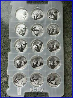 2015 China Panda BU 1oz. 99 Solid Silver Bullion 15 Coins Capsule 10 Yuan