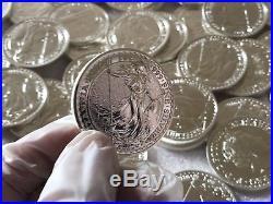2016 Britannia 1 Oz Coins Full Tube Containing 25 Oz. 999 Solid Silver