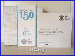 2016 Peter Rabbit solid silver coloured proof with COA