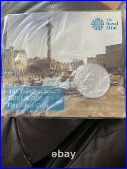 2016 UK'Trafalgar Square' Fine Silver. 999 (£100) ONE HUNDRED POUNDS Coin