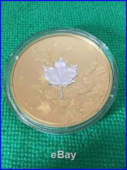 2017 Canada 3oz. 999 Solid Silver Proof Whispering Maple Leaf Coin $50 Gold