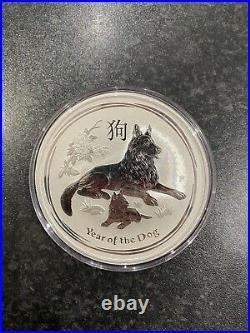 2018 10oz Year Of The Dog. 999 Solid Silver Coin, Perth Mint Lunar Series 2