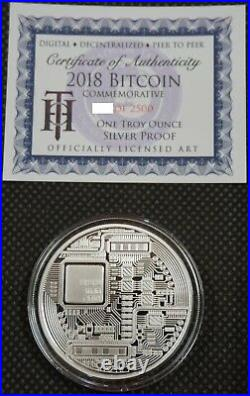 2018 BITCOIN PROOF 1 OZ. 999 FINE SOLID SILVER COMMEMORATIVE AOCS LIMITED with COA