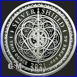 2021 1 oz. 999 Silver Shield Proof Square Matrix #16 Sacred Geometry series COA