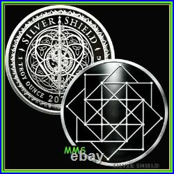2021 1oz Square Matrix Proof Silver Shield MicroMintage 999 Sacred Geometry #16