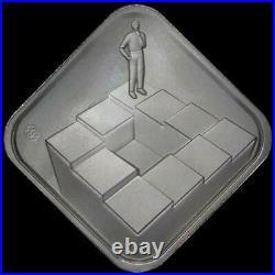 2021 Daniel Carr 13 Steps (Escher Stairs) 50 Gram. 999 Silver Hard Times Token