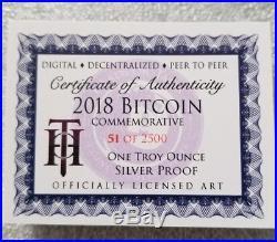 2018 Bitcoin Proof 1 oz .999 fine Solid silver commemorative AOCS  2500