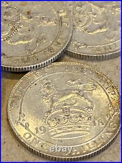20 solid silver Shillings 113 grams Job Lot