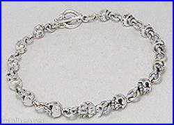 21.26g Solid Sterling Silver Skull Link 9 Bracelet 5mm Wide