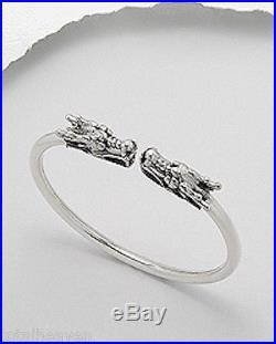 21g Solid Sterling Silver 7mm Thick Beautiful Dragon Bangle Bracelet AMAZING