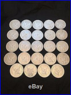 24 x ONE OUNCE APMEX SOLID SILVER COIN 999 FINE SILVER