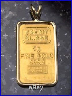 24k Credit Suisse 5g Grams Solid Gold Bar Pendant 14k