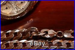 26 X 12mm Flat Curb Miami Cuban Link Chain SOLID 925 SILVER ITALIAN MADE