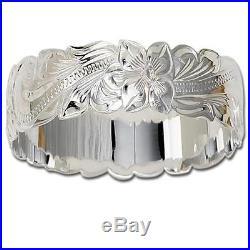 28mm Solid 925 Sterling Silver Hawaiian Plumeria Scroll Bangle Bracelet Size 9.5