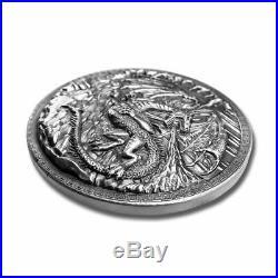 2 10 oz. Dragon vs. Viking. 999 Fine Silver High Relief In a Solid Oak Box