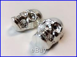 2 3 TROY OZ 3D. 999 Fine Solid Silver SKULL Hand Poured Silver #5368 #5390
