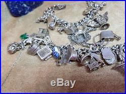 2 Vintage Solid Silver Charm Bracelets 185 G