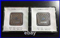 (2) consecutive Geiger 50 Gram 999 Fine Silver Square Bars Encapsulated with Assay