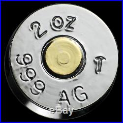 2 oz Silver Bullet. 308 Caliber (Gold & Rhodium Gilded) Solid Silver Imported
