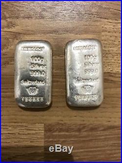 2 x 100g Pure Solid Silver. 999 metalor bar