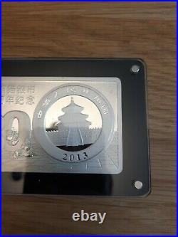 30th Anniversary Of Chinese Silver Panda Solid Silver Coin Bar 3oz 10 Yuan