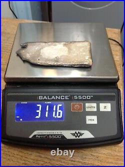 311.6 grams. 925% Sterling Silver Hand Poured Solid Bar