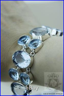 357 Carats Combined Oval Cut Ocean Blue Mystic Topaz 925 Solid Silver Bracelet