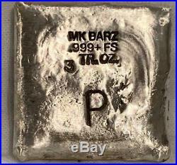 3 Oz. 999 FS MK BarZ Lucifer Lives Laser Square by Paul Abrams